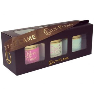 Girly box of 3 Mini Tin Candles by Lily Flame.