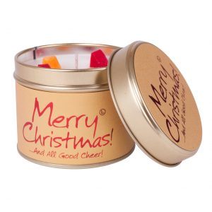 Merry Christmas Tin Candle by Lily Flame